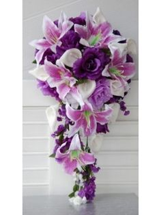 Calla lily, Purple, Lavender and White Wedding Bridal Cascade Wedding Bouquet