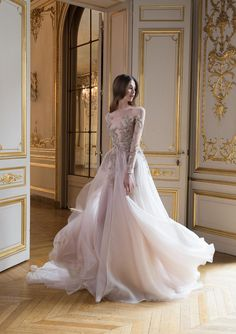 """Very dreamy princess wedding ball gown in pale pink with a lovely embroidered bodice // We're lost in reverie looking at Paolo Sebastian's 2017-2018 Autumn/Winter """"Reverie"""" collection which features a rich colour palette, juxtaposition of textures and ornate accents with an emphasis on leaf and floral motifs."""