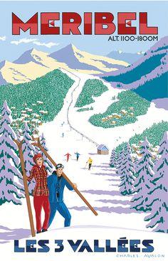PEL133: [NEW] 'Meribel: Winter Wonderland' - by Charles Avalon - Vintage travel posters - Winter Sports posters - Art Deco - Meribel -Pullman Editions