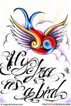 Classic swallow tattoo design