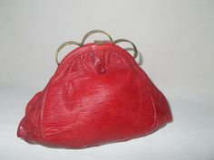 Rare 1930's lizard raspberry red clutch bag made by Rapels by VintageHandbagDreams on Etsy