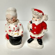 Ceramic Mr and Mrs Claus Christmas Salt and by VintageByRobin