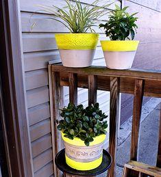 Spray Paint Decor - DIY Neon Planters #summer #crafts #DIY