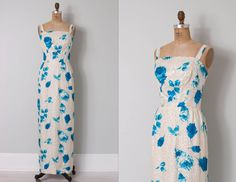 vintage 1960s dress  60s dress  floral sequin gown  by SwaneeGRACE, $178.00
