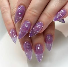 If you like bold and avant-garde nail designs, there's nothing better than stiletto nails. Stiletto nails very fashionable and creative. We collected 30 + trend for stiletto nail designs for you; Best Acrylic Nails, Acrylic Nail Designs, Nail Art Designs, Nails Design, Purple Nails With Design, Purple Nail Designs, Creative Nail Designs, Aycrlic Nails, Swag Nails