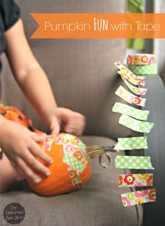 Pumpkin Fun with Washi Tape for a little fun with pumpkin decorating before it's time to carve for Halloween from The Educators' Spin On It Halloween Theme Preschool, Toddler Halloween, Halloween Activities, Holiday Activities, Preschool Crafts, Halloween Crafts, Activities For Kids, Preschool Ideas, Preschool Kindergarten