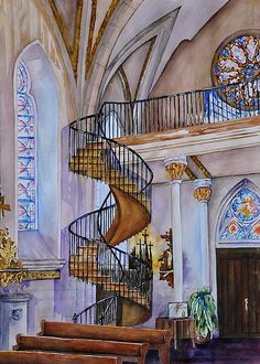 'Loretto Chapel Staircase - Santa Fe, NM' by Joy Skinner Travel New Mexico, New Mexico Usa, Mexico Vacation, Loretto Chapel, Great Places, Beautiful Places, Pagoda Temple, Arizona, Santa Fe Nm
