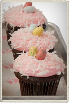 Easter cupcake photo idea- I would make a chocolate beet cupcake, topped with cream cheese and beet frosting, and a sprinkling of shredded coconut.   Top with Easter Hershey's Kisses or Easter m & m's. http://two-much-fun.blogspot.com