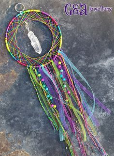 Rainbow Dreamcatcher Large Quartz Pendant by GAMBITandALICE