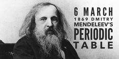 6 March Dmitry Mendeleev presents the first periodic table to the Russian Chemical Society Soviet Union, High School Students, Student Learning, Chemistry, Ukraine, Einstein, Periodic Table, Russia, March
