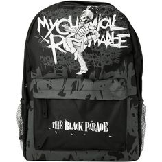My Chemical Romance The Black Parade Backpack Hot Topic ($28) ❤ liked on Polyvore featuring bags, backpacks, accessories, my chemical romance, black backpack, knapsack bags, pocket bag, canvas backpack and black bag