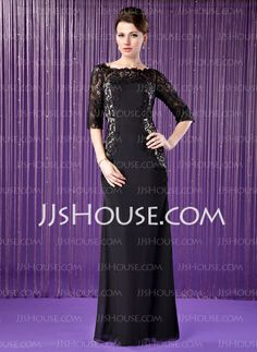 Mother of the Bride Dresses - $179.99 - Sheath Off-the-Shoulder Floor-Length Chiffon Charmeuse Mother of the Bride Dress With Lace (008018691) http://jjshouse.com/Sheath-Off-The-Shoulder-Floor-Length-Chiffon-Charmeuse-Mother-Of-The-Bride-Dress-With-Lace-008018691-g18691