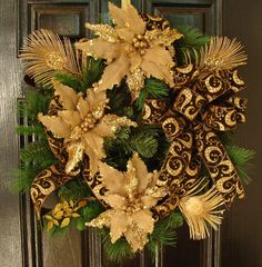 Holiday Christmas Wreath with Gold by WiltshireWildflowers on Etsy