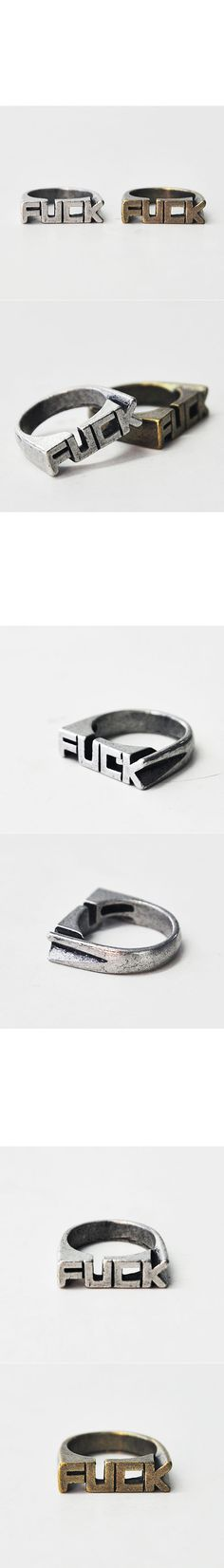 Accessories :: Rings :: Funky Rebellious Edge FUCK Ring-Ring 17 - Mens Fashion Clothing For An Attractive Guy Look