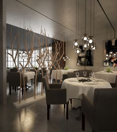 tree divider is interesting element Фото — INK restaurant — Interior design