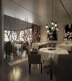 tree divider is interesting element Фото — INK restaurant — Interior design