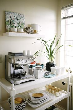 How to Create a Stylish Coffee & Tea Station or use as breakfast station Coffee Area, Coffee Nook, Coffee Bar Home, Home Coffee Stations, Coffee Center, House Coffee, Coffee Coffee, Coffee Beans, Beverage Stations