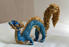 Blue Dragon Sculpture Asian Dragon Chinese by PrimordialMpressions