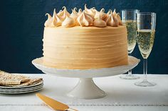 Between the batter and the icing, you'll need an entire bottle of Champagne for our ultimate special Champagne layer cake. Best special-occasion dessert ever! Photo by Jodi Pudge. Layer Cake Recipes, Homemade Cake Recipes, Layer Cakes, Canadian Living Recipes, Champagne Cake, Fun Desserts, Dessert Ideas, Cake Ideas, Desert Recipes