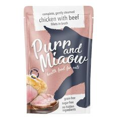Purr & Miaow Chicken with Beef Sugar Free Wet Adult Cat Food Pouches 12 x from Ocado Pet Branding, Branding Design, Beef Fillet, Steamed Chicken, Cat Feeding, Pet Food, Cat Health, Food Packaging, Package Design