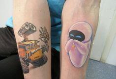 wall-e & eve couple tattoo