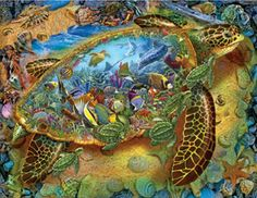 Sea Turtle World Jigsaw Puzzle | 1000 Piece Puzzles | Vermont Christmas Co. VT Holiday Gift Shop