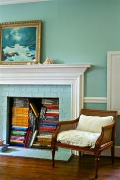 If there is a fireplace behind that wall . . . fireplace book storage