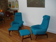 Rare easy chairs designed by Ib Kofod-Larsen. Recline in 3 different positions, with matching ottoman