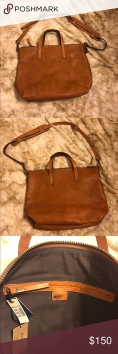 "Madewell Zip Transport Satchel Madewell Zip Transport Satchel with strap. NWT, never used. Color is burnished caramel. 100% leather, adjustable shoulder strap. Interior zip pocket and two other interior pockets as well. Message from brand; ""As leather is a natural material, each bag varies slightly in texture and color."" Received as a christmas gift, would like to get another style. Cannot return due to black mark on inner brand name as shown in photo and due to no receipt. Madewell Bags…"