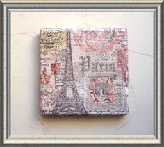 Coasters PARIS FRENCH Shabby Chic set of 4 by CraftyCatPlates