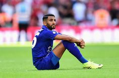 Riyad Mahrez of Leicester City show emotion after the final whistle during The FA Community Shield match between Leicester City and…
