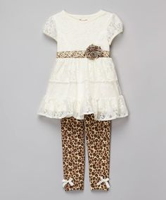 White & Brown Leopard Lace Tunic & Leggings - Toddler & Girls