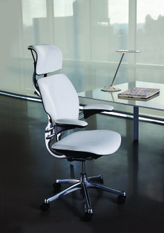 White Leather Modern Task Chair for your home office or workspace: The ultimate in luxury is Humanscale Freedom Headrest