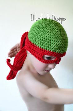 Turtle Ninja Hat Crochet Fun Made to Order by illumiknitiDesign