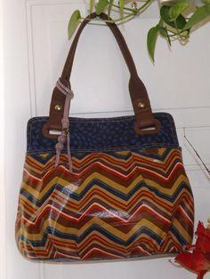 #Ladies handbags Ladies Large Fossil KeyPer Chevron Shopper Tote Shoulder handbag #Fossil #TotesShoppers