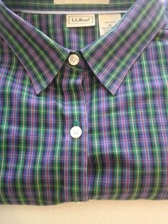 L.L BEAN Dress Shirt Men's XL 100% cotton wrinkle resistant green yellow purple in Clothing, Shoes & Accessories | eBay