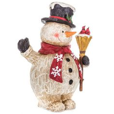 Carved Snowman with Broom Figurine Green Christmas, Christmas Snowman, Merry Christmas, Christmas Projects, Fun Projects, Hobby Lobby Furniture, Green Mittens, Hobby Lobby Christmas, Christmas Decorations
