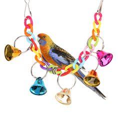 32cm Pet Bird Bell Acrylic Toys Chew Parrot Ringer Hanging Swing Cage Cockatiel Parakeet Toy For Bird's Pet Supplies