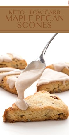 Move over, Starbucks, there is a healthy Maple Pecan Scone in town. These low carb and keto scones are deliciously tender and sweet, with a thick layer of maple frosting. #ketorecipes #ketodiet #sugarfree #lowcarb #grainfree via @dreamaboutfood