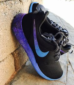 Size MENS 10 in only galaxy swoosh ready to ship! Just FYI, the end of the swooshes appear black, but are just dark purple. The BOTTOMS of the shoes are NOW painted, but please note that this paint WILL WEAR OFF the first time you wear them. The paint on the sides will wear off with