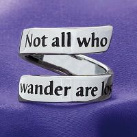 "Stainless Steel Not All Who Wander Wrap Ring Quoth the Wizard Quoted from Gandalf's letter to the Hobbits in The Fellowship of the Ring, ""Not all who wander are lost"" is inscribed along the wrap of this stainless-steel ring. Whole sizes 6-10."