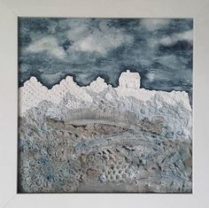 "Mixed Media Vintage Lace Original Art Work ""A Frosty Moonlit Night"" by BuddhasBeanie on Etsy"