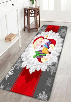 Christmas Santa Deer Sleigh Pattern Indoor Outdoor Area Rug - Quality bath rugs for bathroom decorating ideas