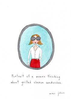 very serious portraits by @MarcJohns portrait of a woman thinking about grilled cheese sandwiches.