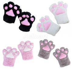 1 Pair Vicious Cat Monster Paw Claw Plush Gloves Costume Party Anime Cosplay New