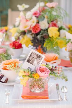 Love these pinks, yellows, and oranges! 10 Charming Table Settings for Your Next Party!