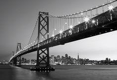 Fotomural Wizard Genius San Francisco Skyline 134, imagen del puente de San Francisco en blanco y negro.