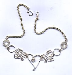 Heart and random links necklace