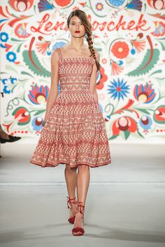 Shop Ewa Embroidered Fit and Flare Dress. This **Lena Hoschek** features a square neckline and a pleated skirt design. Folk Fashion, Vintage Fashion, Feminine Mode, Runway Fashion, Fashion Show, Geometric Dress, Vogue, Dinner Outfits, Trends