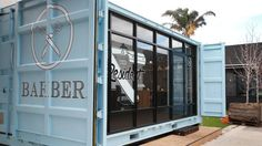 Josiah Munday has expanded The Resident Barberfrom operating out of a caravan to a larger shipping container. Home Hair Salons, Home Salon, Shipping Container Restaurant, Shipping Container Homes, Container Shop, Container Design, Container Houses, Old School Barber Shop, Mobile Barber